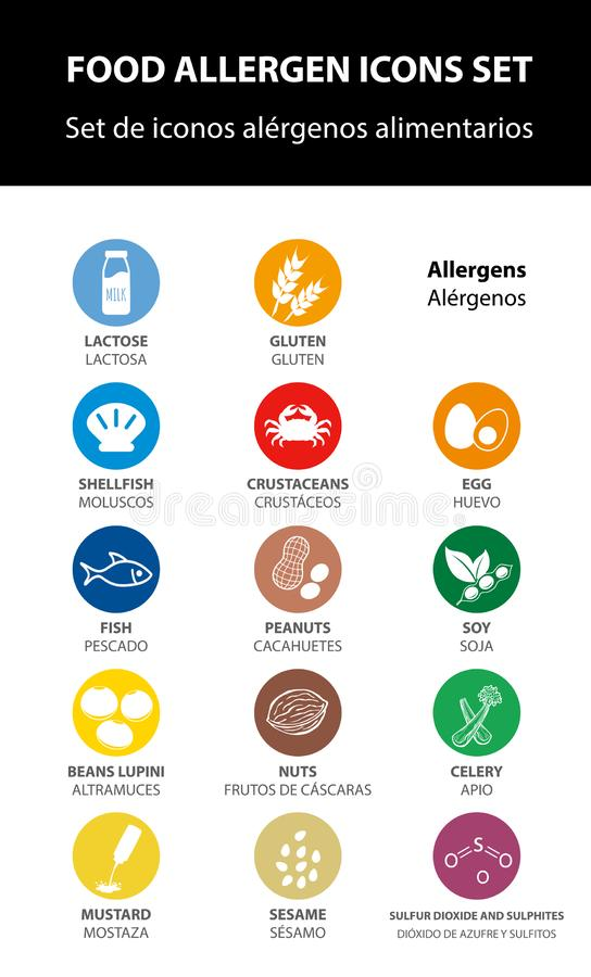 Food allergen icons set, vector. Information food. allergenic icon, label. nutrition stock illustration