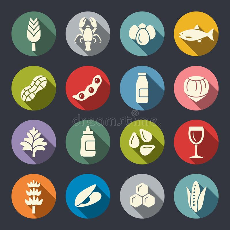 Food allergens circle flat vector icons. Common food allergens such as gluten, eggs, nuts. Flat vector icon set stock illustration