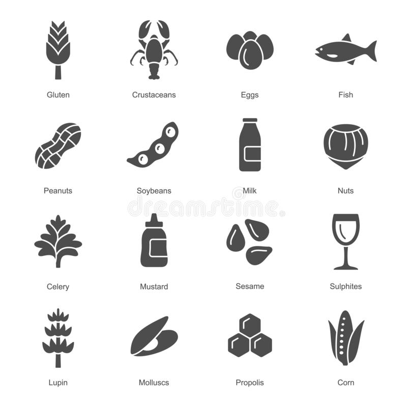 Food allergens grey coloured vector icons. Common food allergens such as gluten, eggs, nuts. Graphic grey vector icon set stock illustration