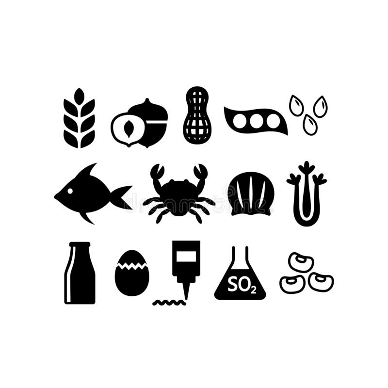 Food allergens icon set. Black isolated food allergens vector set. Gluten, peanuts, tree nuts, soy allergy silhouette icons royalty free illustration