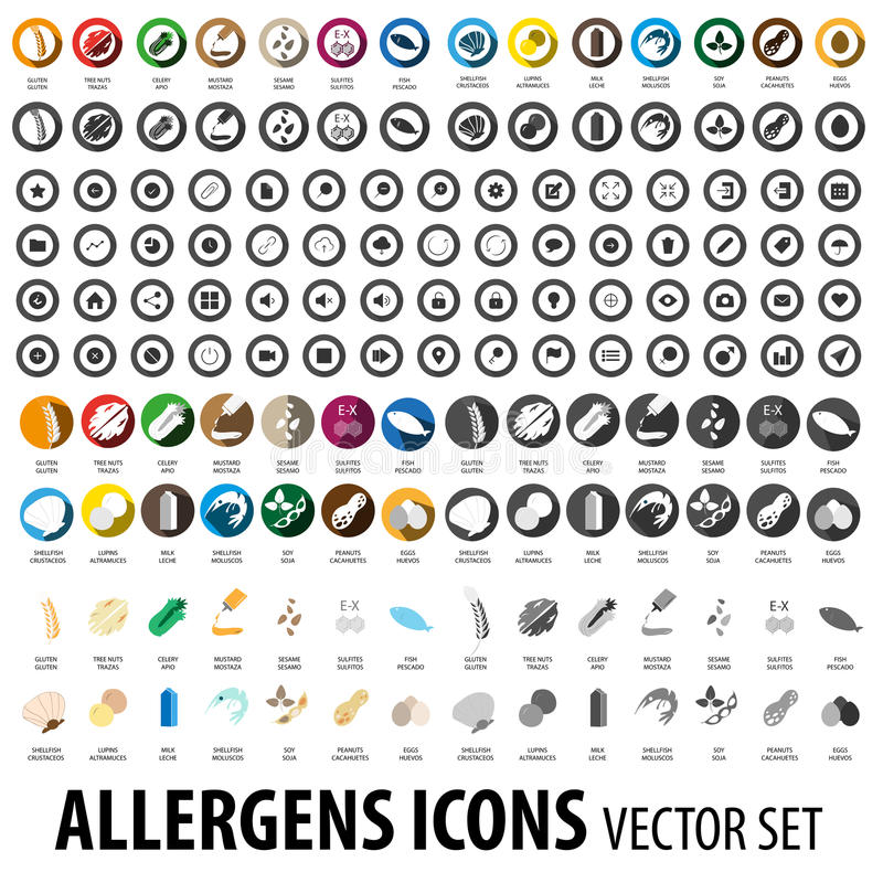Food allergens icons pack. Food allergies icons vector set vector illustration