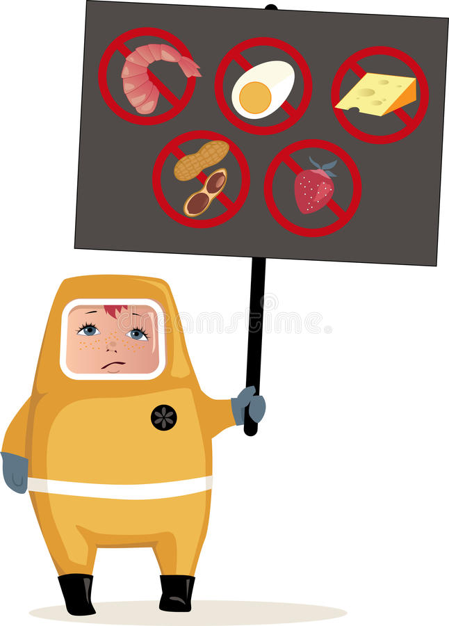Food allergies. Child in hazmat suit holding a poster with common food allergens icons, vector illustration, EPS 8 stock illustration