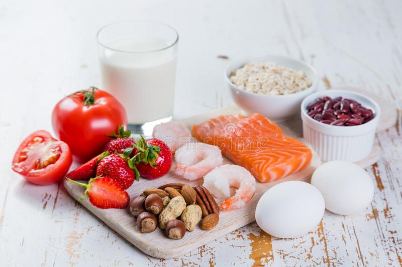 Food allergies - food concept with major allergens stock photography