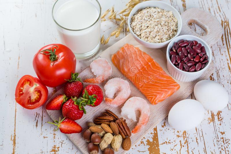 Food allergies - food concept with major allergens royalty free stock photos