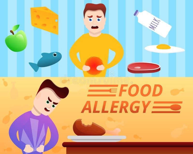Food allergy banner set, cartoon style. Food allergy banner set. Cartoon illustration of food allergy vector banner set for web design stock illustration