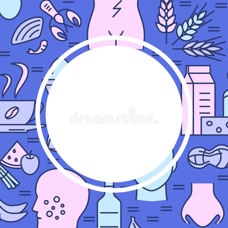 Food allergy banner template in colored line style. With place for text. Background with allergy symptoms and products symbols. Vector illustration vector illustration