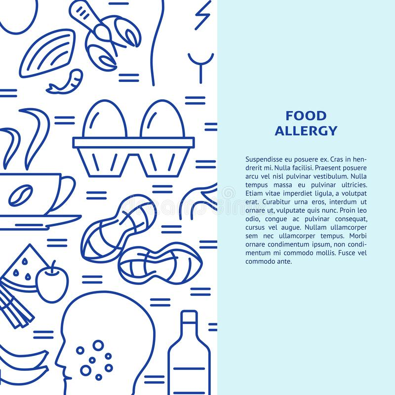 Food allergy banner template in line style. With place for text. Background with allergy symptoms and products symbols. Vector illustration vector illustration