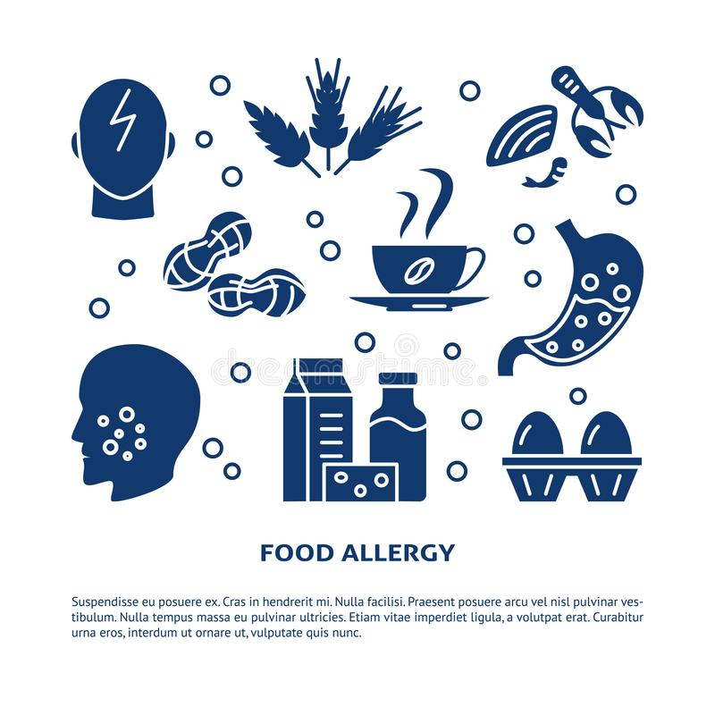 Food allergy banner template with place for text. Food allergy banner template in simple style with place for text. Poster with sensitivity symptoms and products royalty free illustration
