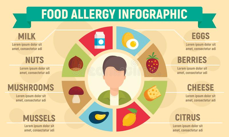 Food allergy infographic, flat style vector illustration