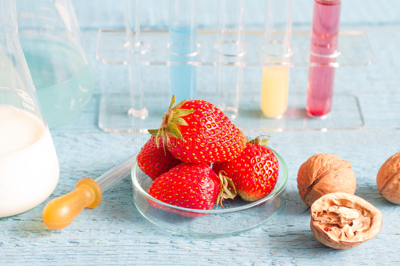 Food allergy and research in the lab. Closeup stock images