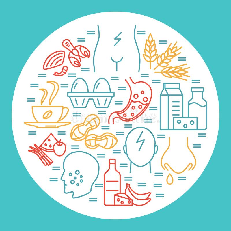 Food allergy round concept banner template in line style. Poster with sensitivity symptoms and products symbols. Vector illustration vector illustration