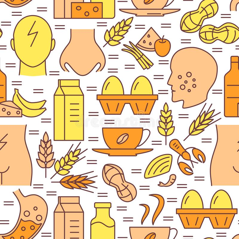 Food allergy seamless pattern in colored line style. Repeating background with sensitivity symptoms and products symbols. Vector illustration royalty free illustration