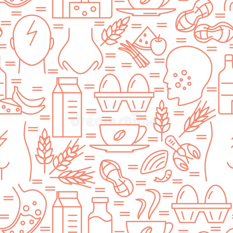Food allergy seamless pattern in line style. Repeating background with sensitivity symptoms and products symbols. Vector illustration stock illustration