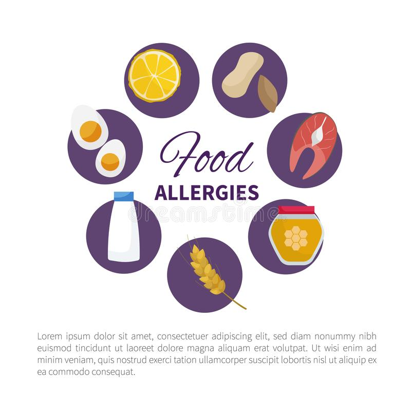 Food allergy. Vector. Food allergy. Infographics. Product Icons royalty free illustration