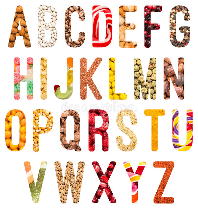 Food Alphabet Letters Isolated. On White royalty free stock photos