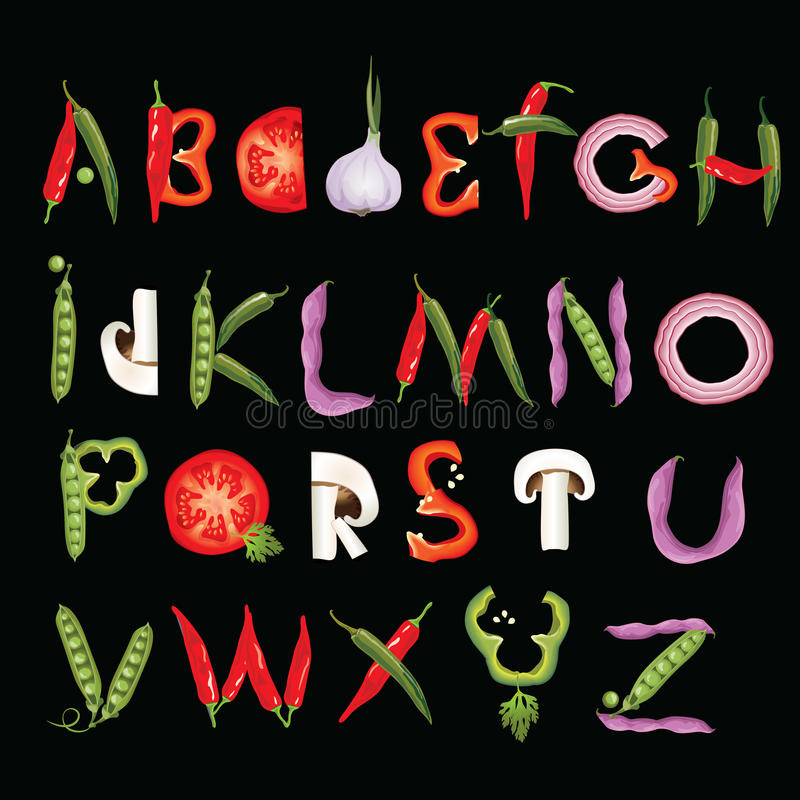 Food alphabet made of vegetables. Eco Font. Healthy letter. stock illustration