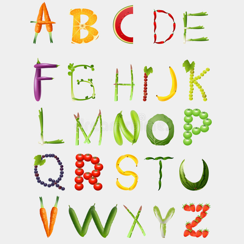 Food alphabet made of vegetables and fruits royalty free illustration