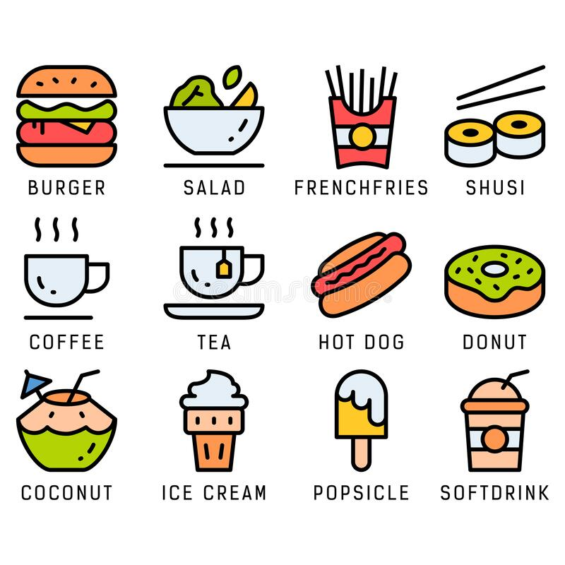 Free Food And Drink Icon Set With Lineal Color Style. EPS File. Editable Color And Stroke Royalty Free Stock Photography - 191739427