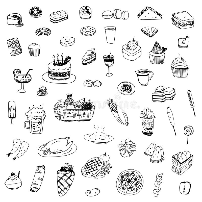 Free Food And Drink Sketch Drawing Vector Royalty Free Stock Photo - 73260915