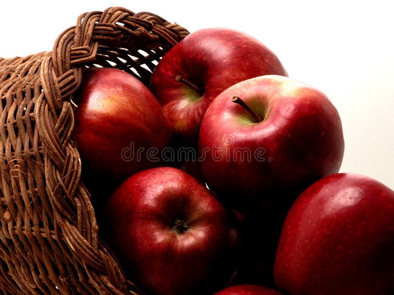 Food: Apple Basket (1 of 4). Horn shaped wicker basket full of Red Delicious apples royalty free stock image