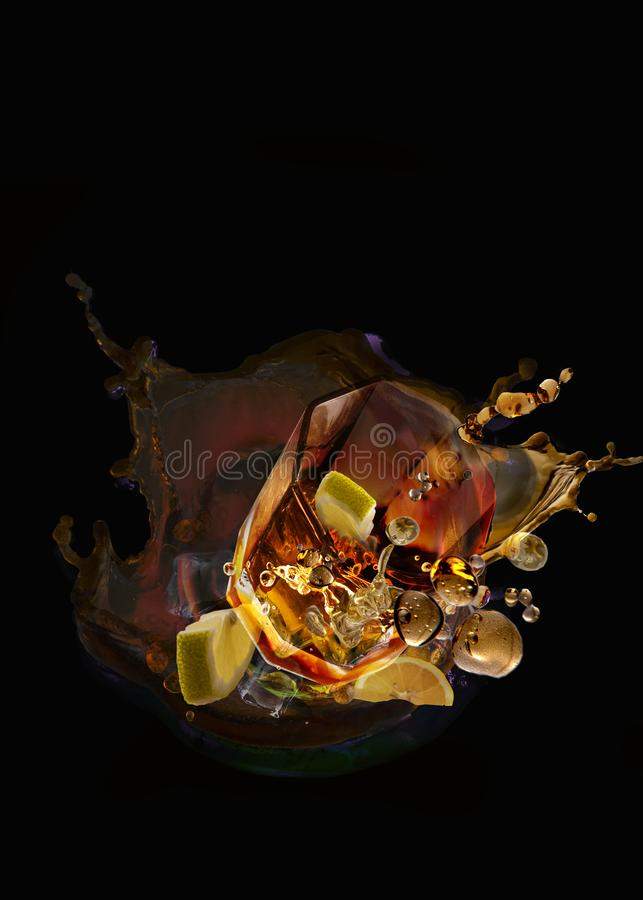 Whisky sour splash food art. Food art design collage of a whisky sour royalty free stock images