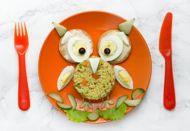 Food art for kids. Rice owl royalty free stock image