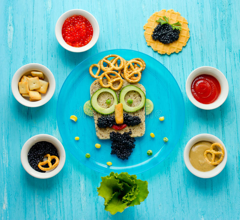 Food art - sandwiches for dad. Creative idea for a snack on Father`s Day royalty free stock image