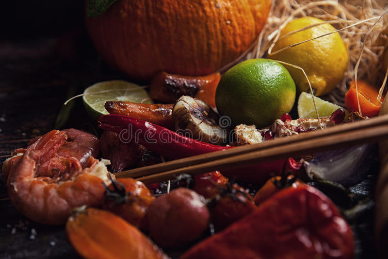 Food assorted on wooden table royalty free stock photography