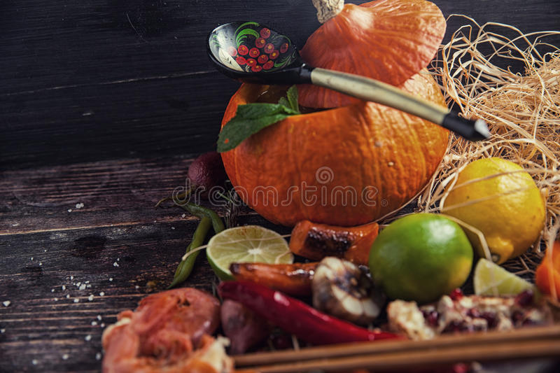 Food assorted on wooden table stock images