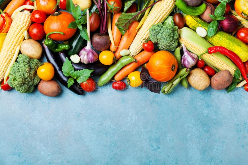 Food background with autumn farm vegetables and root on blue table top view. Healthy and organic harvest. royalty free stock photos