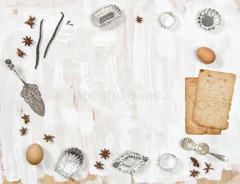 Food background Backing recipe book. Food background. Backing recipe book. Kitschen toos and utensils royalty free stock photography