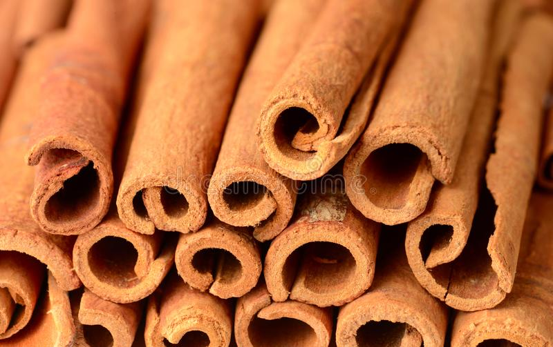 Food background of cassia cinnamon sticks royalty free stock image