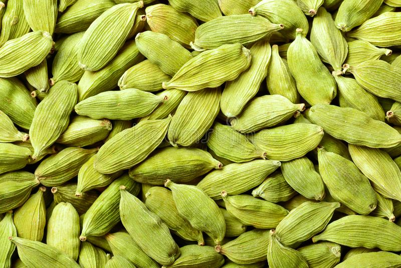 Food background of dried cardamom, top view royalty free stock image