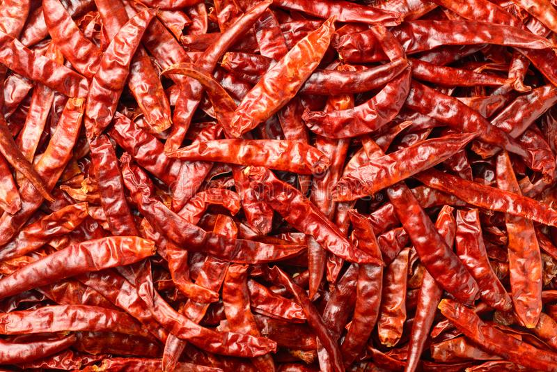 Food background of dried red chilies, top view royalty free stock image