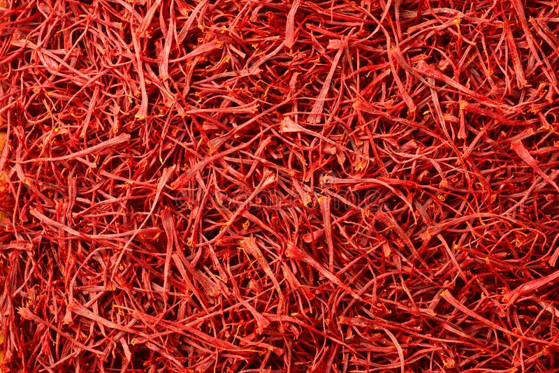 Food background of dried saffron thread spice stock photography