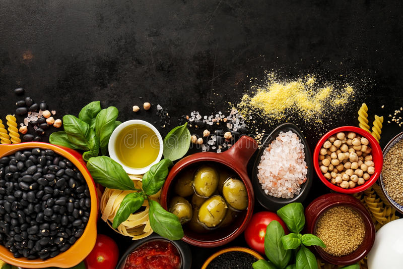 Food background Food Concept with Various Tasty Fresh Ingredient. S for Cooking. Italian Food Ingredients. View from Above with Copy Space stock image