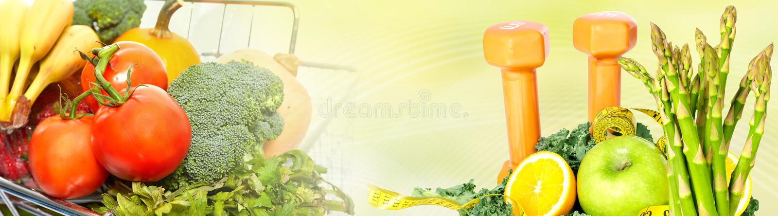 Food background. Fresh organic vegetarian healthy food banner background stock photography