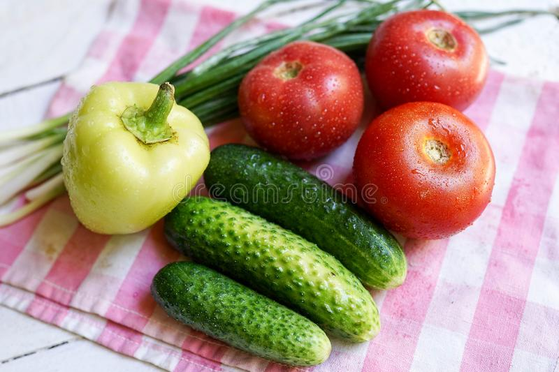 Food background with Organic Vegetables. Healthy food or diet concept stock image