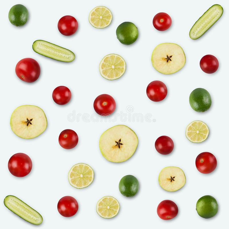 Food background and pattern of fruits and vegetables royalty free stock photos