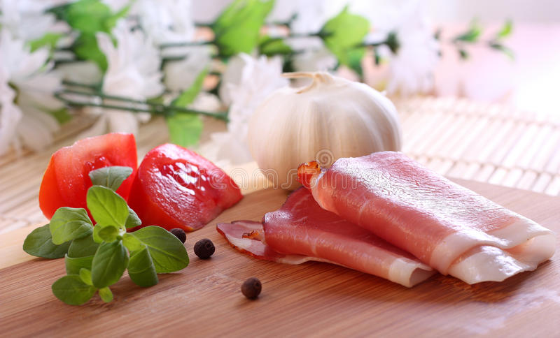 Download Food Background Wit Italian Prosciutto Stock Photo - Image: 13041710