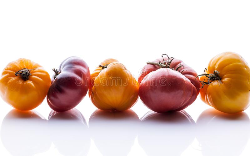 Food banner. Tomatoes of different colors and shapes on a white glossy background. Horizontal shot stock images