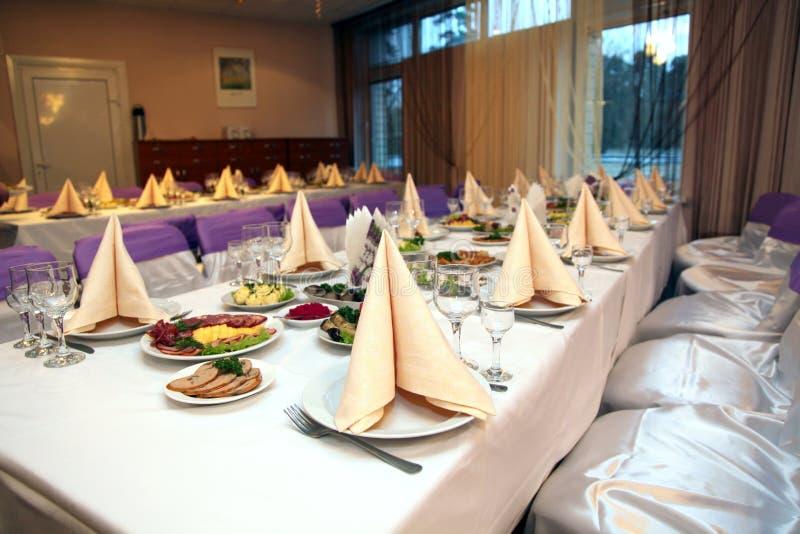 Food at banquet table royalty free stock photo