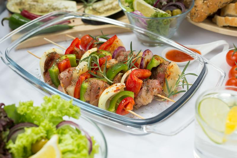 Food for barbecue. Colorful delicious healthy food prepared for barbecue royalty free stock photo