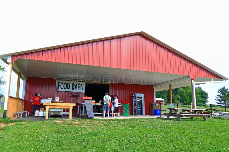 Food Barn. Serving fast foods during festivals or events in rural farmers royalty free stock photo