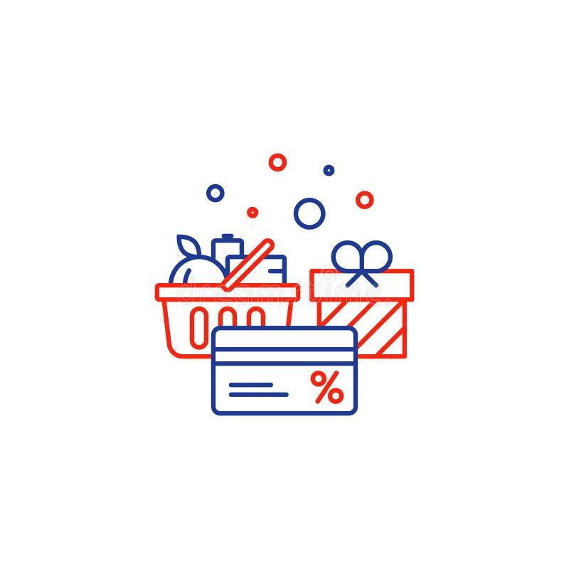 Food basket, grocery order, shop special offer, bonus discount card line icon stock illustration