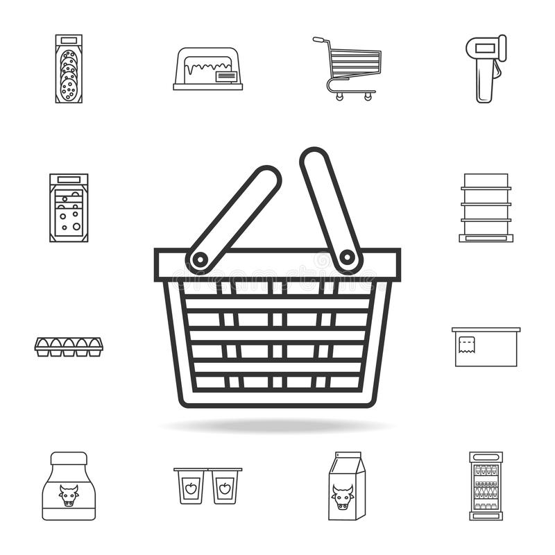 food basket icon. Detailed set of shops and hypermarket icons. Premium quality graphic design. One of the collection icons for web royalty free illustration