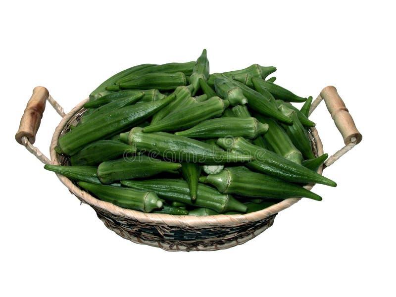 Food: Basket of Okra royalty free stock photos