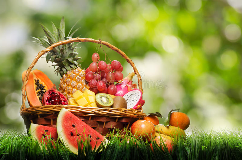 Basket of tropical fruits on green grass royalty free stock image
