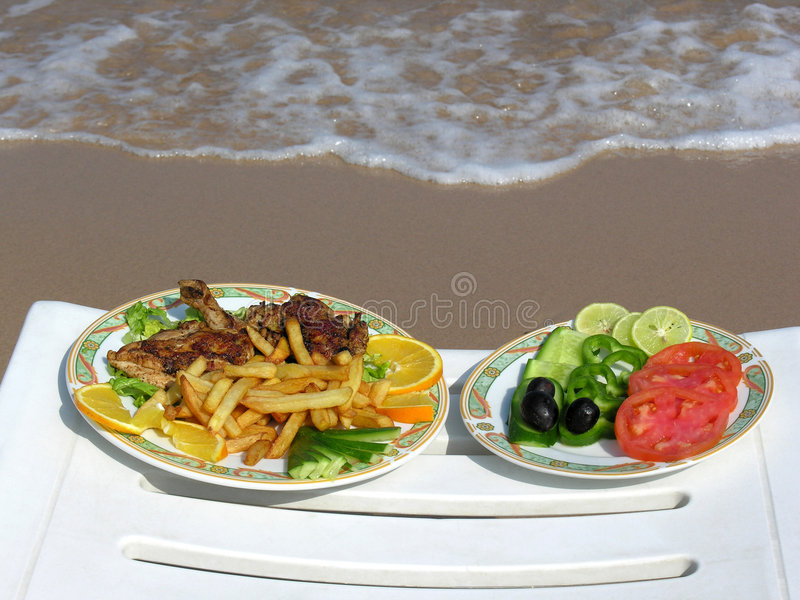 Food On The Beach Royalty Free Stock Photo