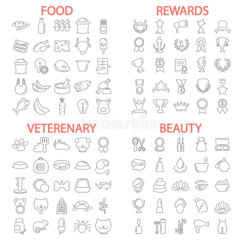 Food. Beauty. Veterenary shop. Rewards and medals line icons set vector illustration